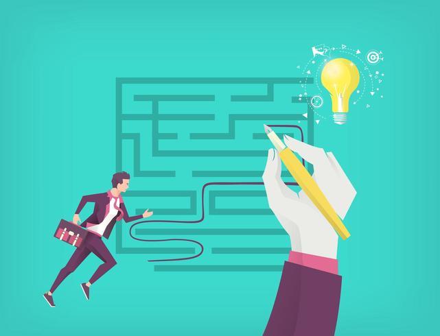 Handteckningsväg ur labyrinten medan affärsmannen springer till idé vektor