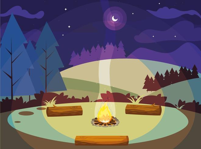 Campingzone mit Lagerfeuer in den Bergen vektor