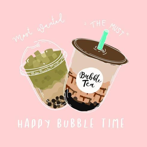 Happy Bubble Time Pink Bubble tea eller Pearl Milk Tea Poster vektor