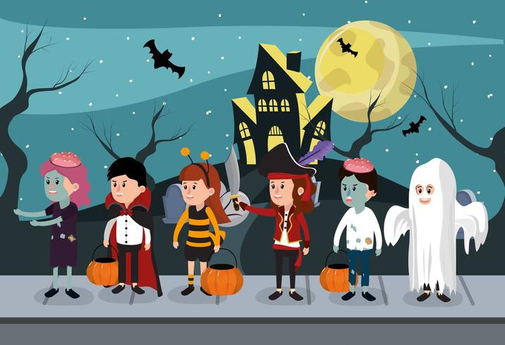 Barn i Halloween kostymer vektor