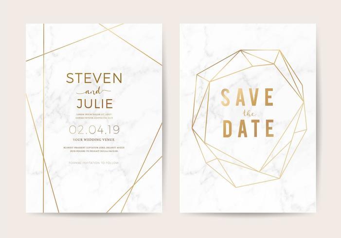 Lyxigt bröllop inbjuder kort med vit marmor textur och guld kant vektor