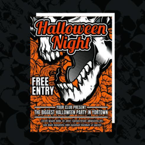 Orange Halloween Party inbjudningsreklamblad vektor