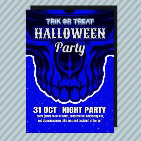 blå halloween party inbjudningsreklamblad vektor