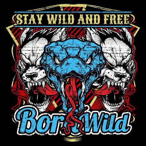 T-shirtdesign Born Wild vektor