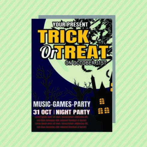 trick eller behandla halloween party inbjudningsreklamblad vektor
