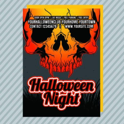 brand halloween party inbjudningsreklamblad vektor