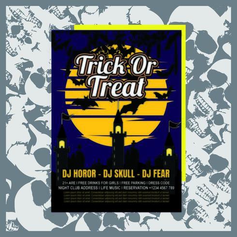 Full Moon Halloween Party inbjudningsreklamblad vektor
