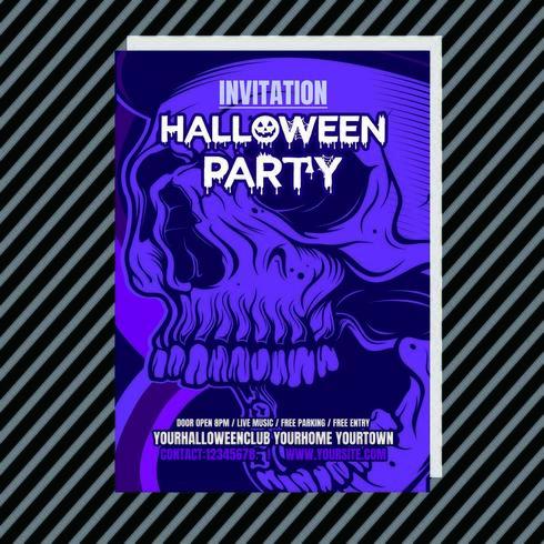 Purpurfärgad inbjudan för lila Halloween-festkväll vektor