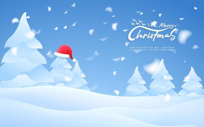 Beschriftung und Baum der frohen Weihnachten mit Sankt-Hut mit schneebedecktem Hintergrund vektor