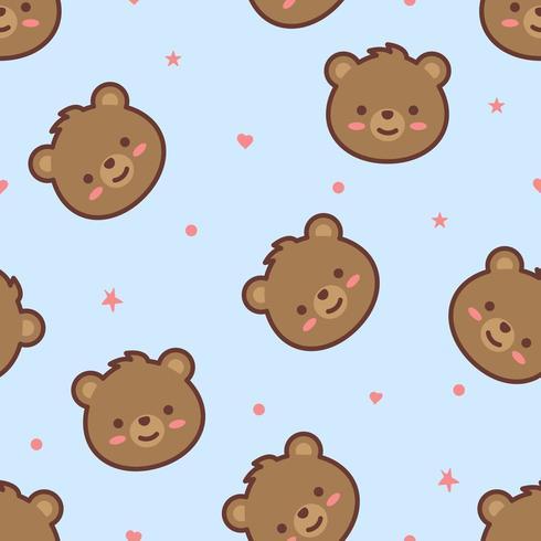 Söta björn ansikte tecknade seamless mönster vektor