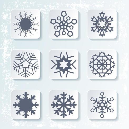 Set von 9 verschiedenen Schneeflocken. Vektor-illustration vektor