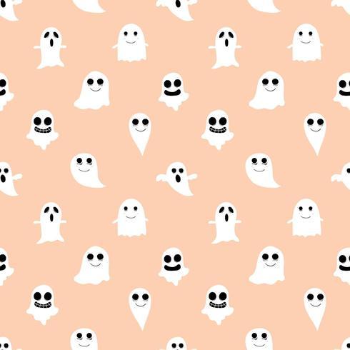 Orange spöke och sömlös bakgrund för ghou vektor