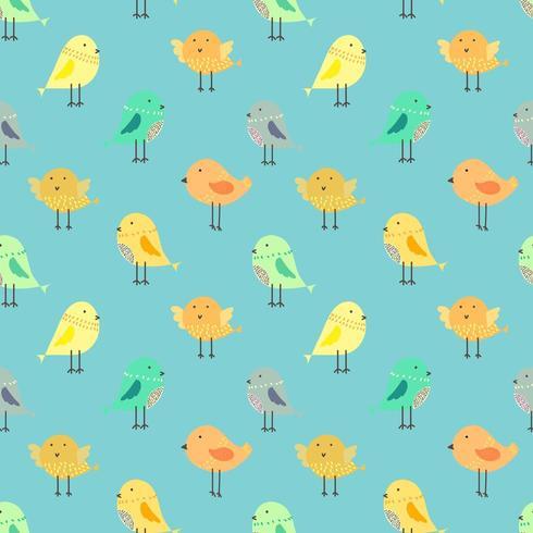 Nette Vögel mit blauem nahtlosem Musterhintergrund vektor