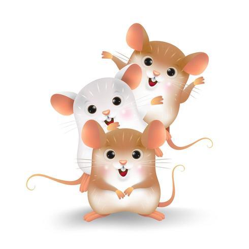 Tecknad film av de tre lilla råttans personlighet vektor