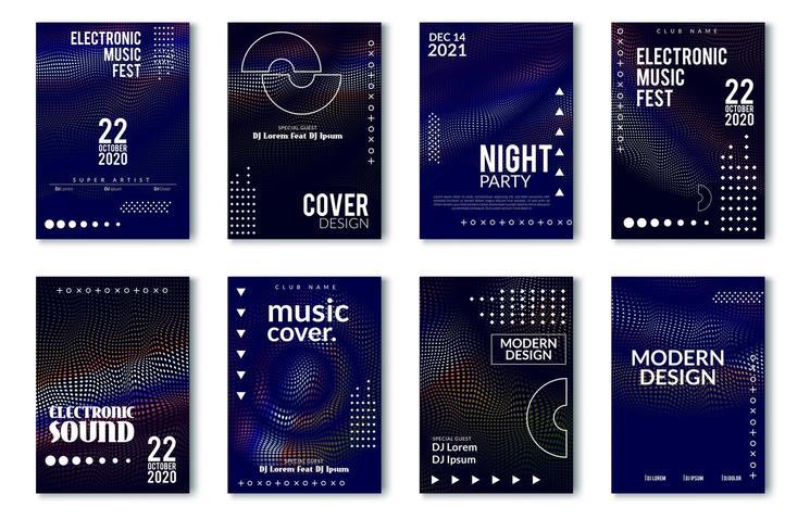 Minimal affischdesign för elektronisk musikfestival vektor