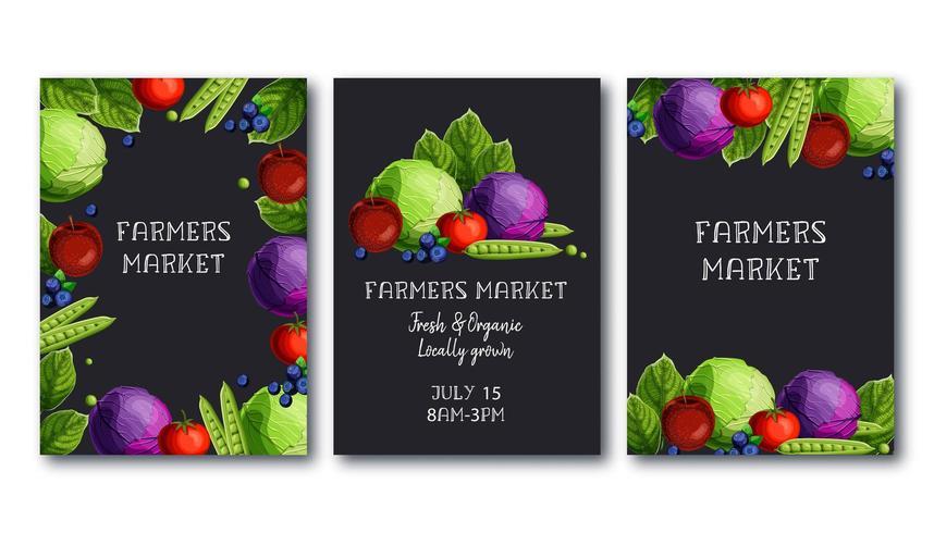 Uppsättning för bondemarknadsaffischmall med färska grönsaker och frukter och text vektor