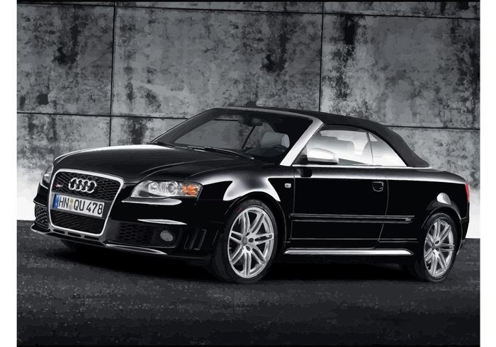 Schwarzes Audi RS4 Cabriolet vektor