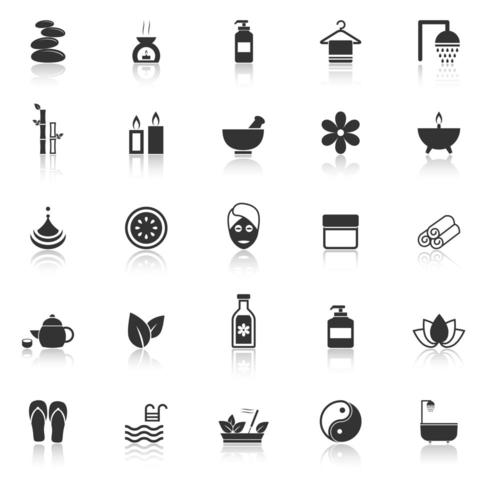 Spa-Symbole mit Reflektion vektor