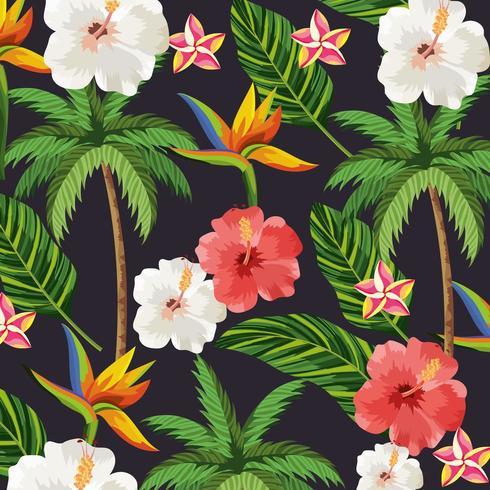 tropiska blommor och växter palm bakgrund vektor