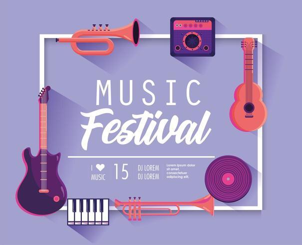 musikfestivalaffisch med professionella instrument vektor