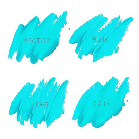 elektrisches blaues Pinselstrich-Set vektor