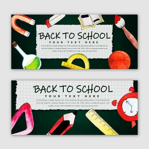 Tillbaka till skolan Banner Set vektor