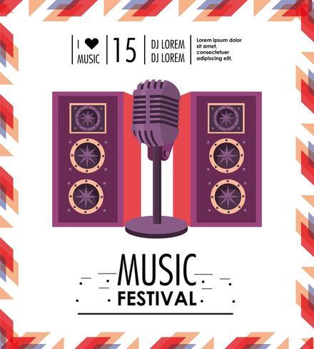 högtalare och mikrofon för musikfestival vektor