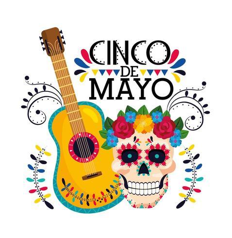 skalle med blommadekoration och mexikansk gitarr vektor