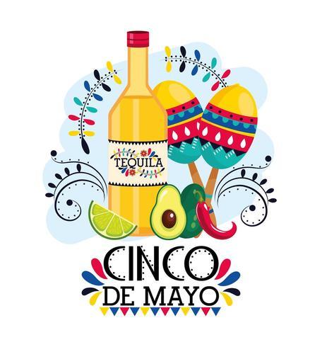 tequila med maracas och avokado för cinco de mayo vektor