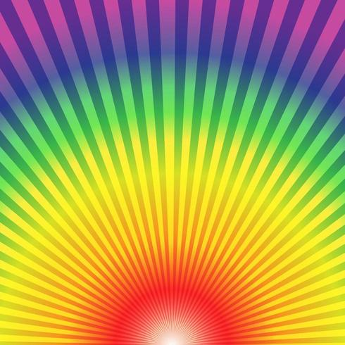 Regnbågens radiella strålar nerifrån abstrakt bakgrund vektor