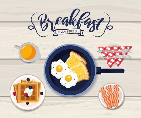 läckra stekt ägg med bacons och våffelfrukost vektor