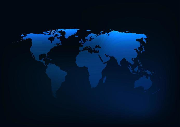Futuristisk glödande mörkblå världskart silhuett vektor