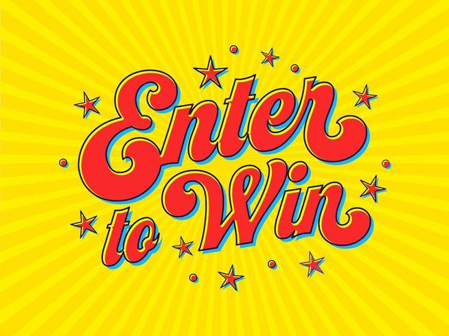 Enter för att vinna Pop Art Typography vektor
