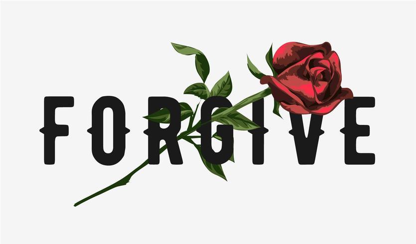 förlåt slogan med röd rosillustration vektor