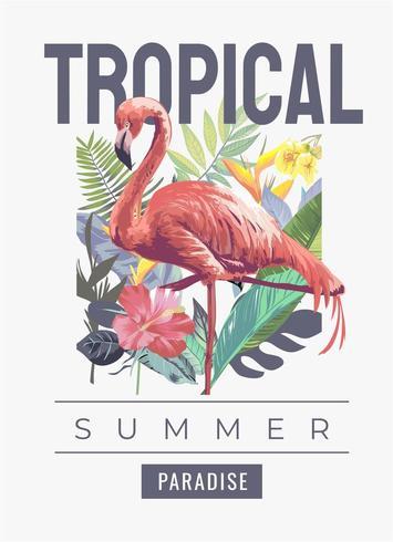 tropischer Slogan mit Flamingo im wilden vektor