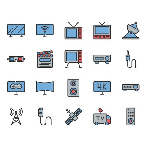 TV-relaterade ikonuppsättning vektor