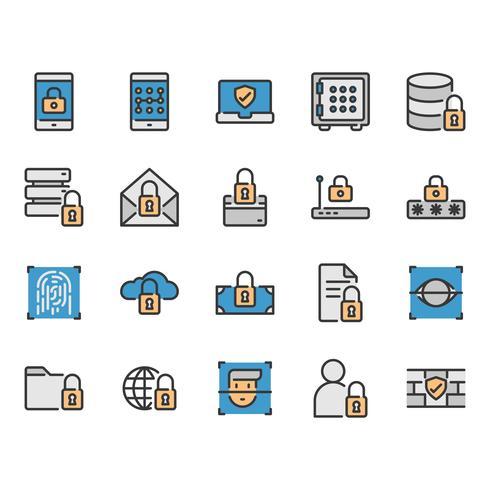Säkerhets- och skyddsrelaterad ikonuppsättning vektor
