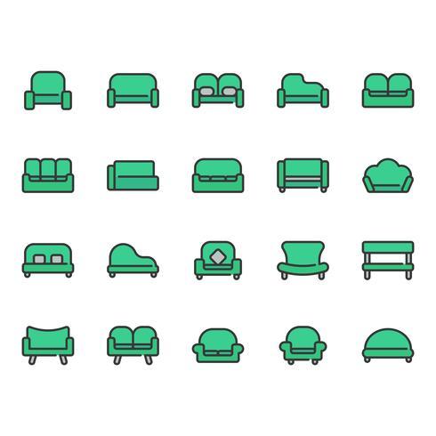 Soffa och säte ikonuppsättning vektor