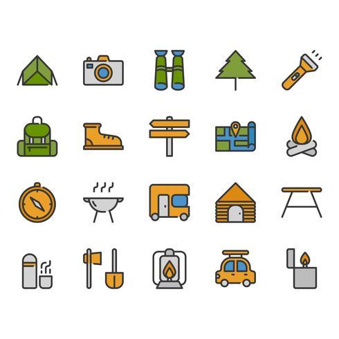 Camping och resorelaterade ikonuppsättning vektor