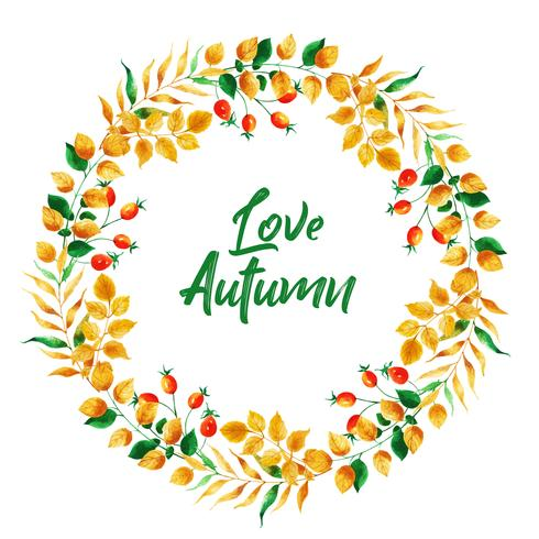 Schöner Aquarell-Herbstlaub-Kranz vektor