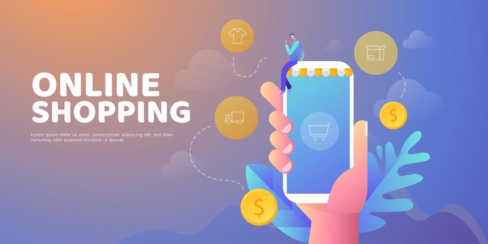 shopping online banner vektor