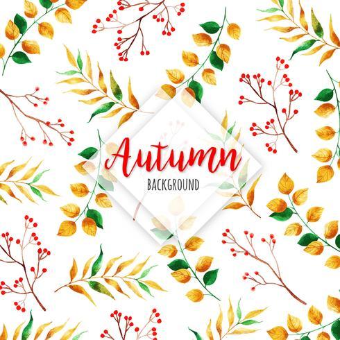 Schöner Aquarell-Herbstlaub-Hintergrund vektor