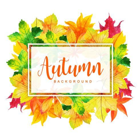 Schöner Aquarell-Herbstlaub-Rahmen vektor