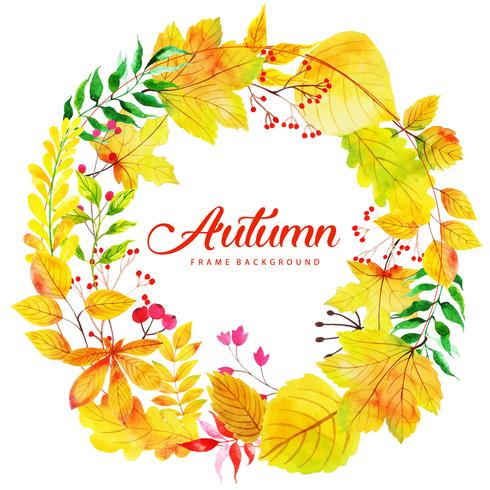 Vacker akvarell Autumn Leaves Krans vektor