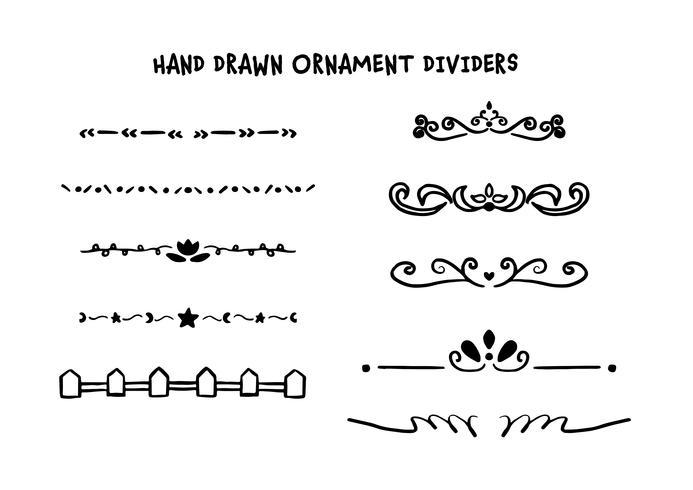Handgezeichnete Teiler festgelegt vektor