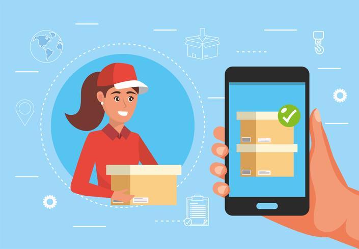 Kvinna som levererar paketet med smartphonetjänsten vektor