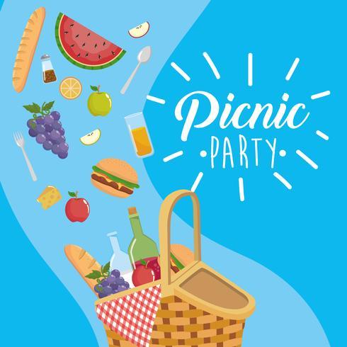 Picknickfestaffisch med korg och mat vektor