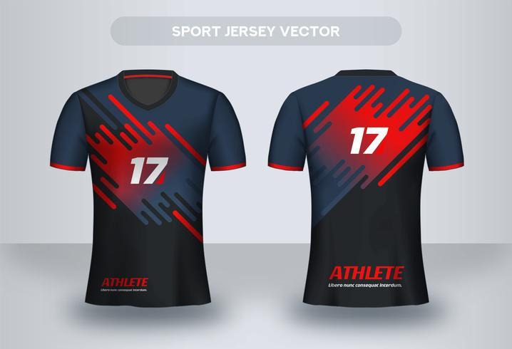 Blå och röd modern fotbolls Jersey design. Enhetlig T-shirt framifrån och bakifrån. vektor
