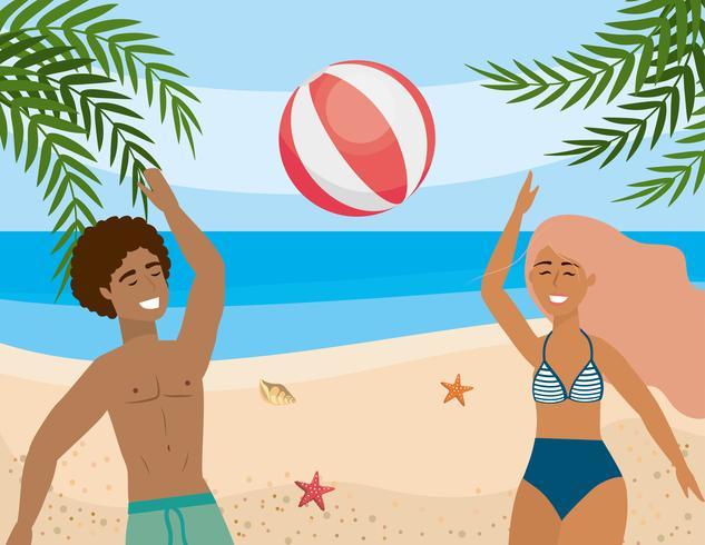 Kvinna och man som spelar med strandbollen vektor
