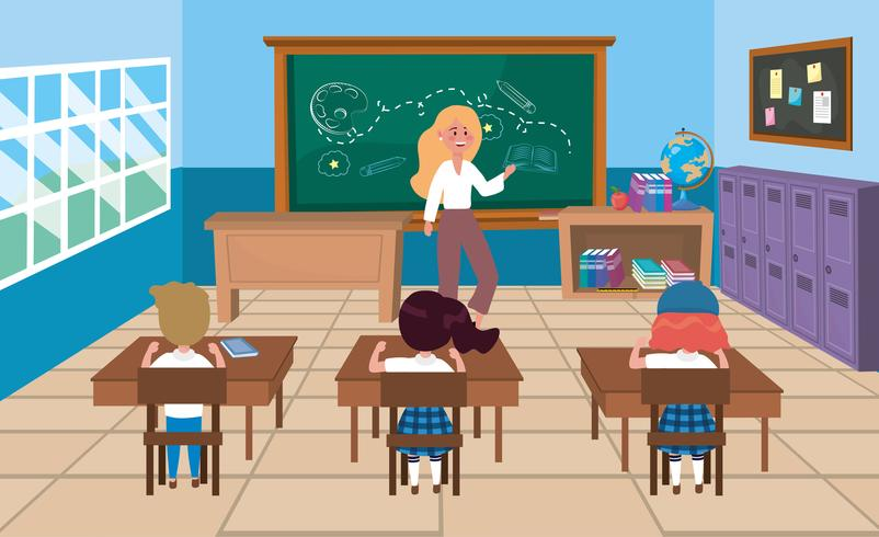 Lehrerin mit Schülern im Klassenzimmer vektor